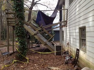 Old Deck Collapsed in Backyard